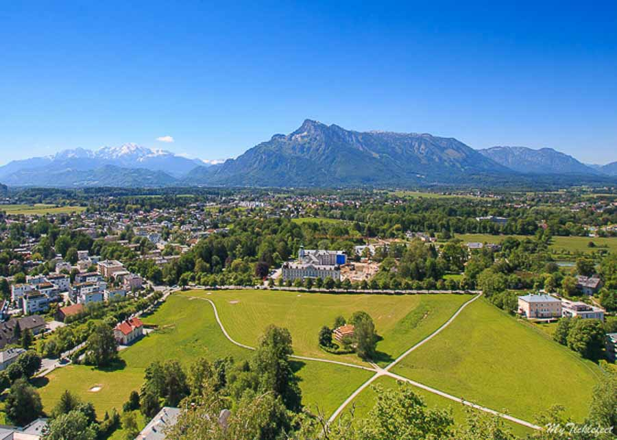 View of Alps from top of Fortress Salzburg