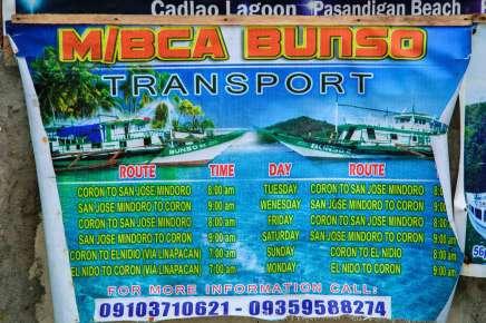 El Nido MB Bunso Boat Schedule