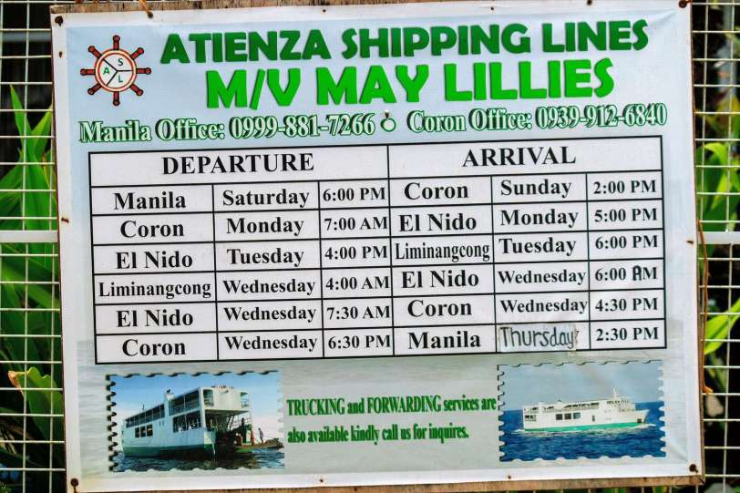 El Nido MV May Lillies boat schedule