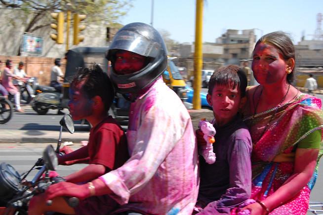 Holi Family on Bike