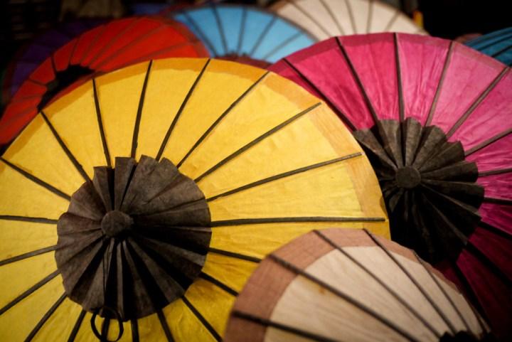 Pretty close up of paper umbrellas in Luang Prabang's nightly street market, Laos.