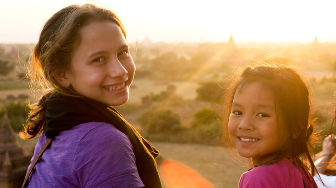 Ana and M take in the sunset over Bagan, Burma