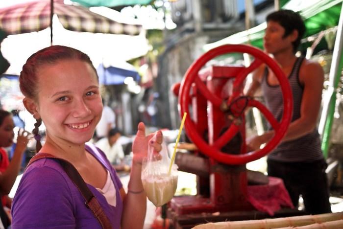 Sugarcane juice with lime