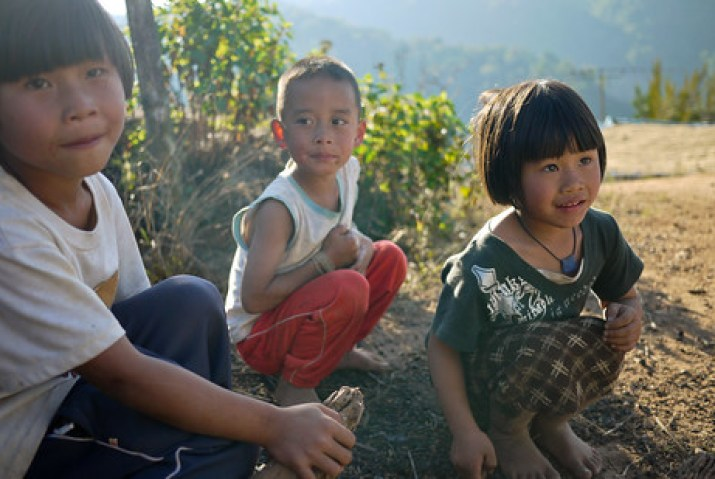 The sweet faces of children in the Akha Ama coffee village near Chiang Mai, Thailand.
