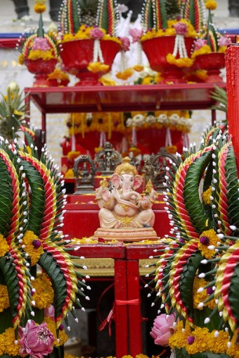 Ganesh decorated and honored at a festival in the Three Kings square in Chiang Mai, Thailand.