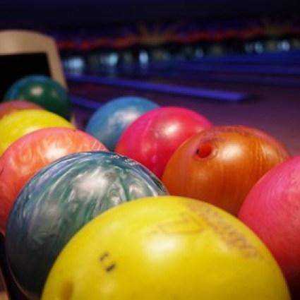 Colorful bowling balls at Lanna bowling in Chiang Mai, Thailand.