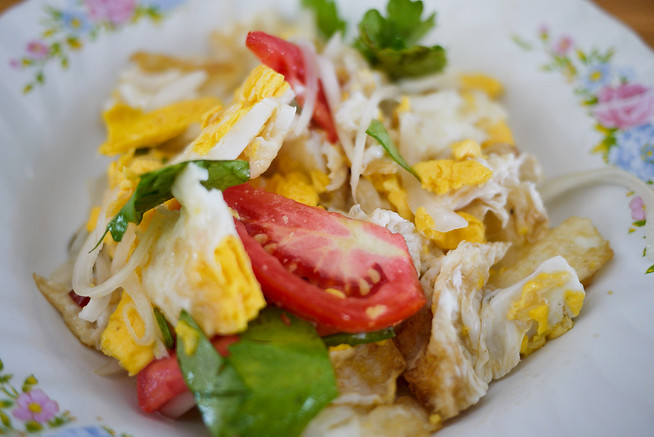 Yum kai dao, a Thai fried egg salad
