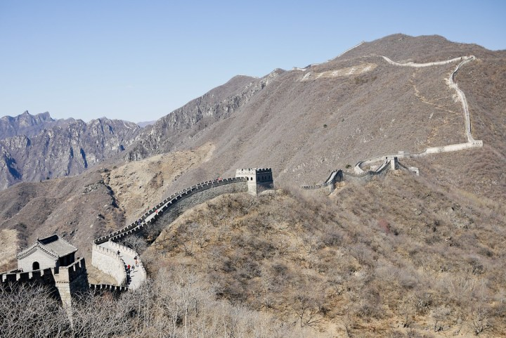 Views toward Watchtower 21 and beyond on the Great Wall of China at Mutianyu.