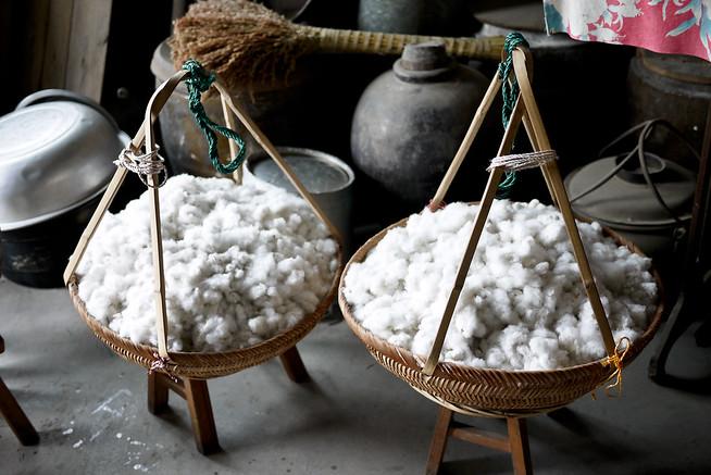 Basket of cotton, Xingping Fishing Village China