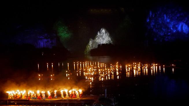 Light show Yangshuo, China.