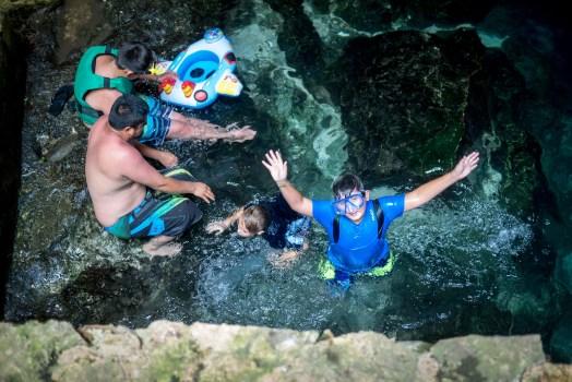 blue waters of cenote chacsinicche