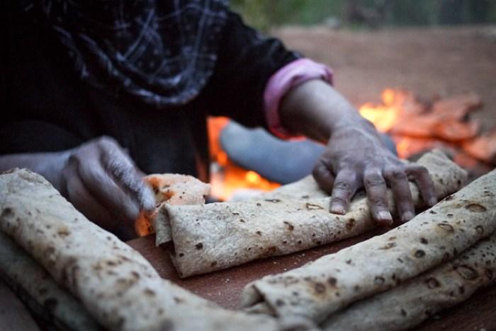 Traditional shrak bread in Jordan