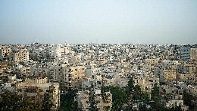 Amman city sprawled out at sunrise from high on one of the city's seven hills, at the Four Seasons.