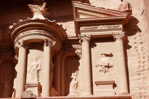 Facade details, the Treasury in Petra, Jordan.