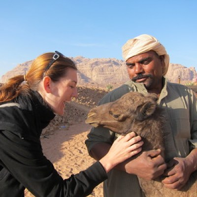Moments before I got a smelly kiss from the baby camel! Wadi Rum, Jordan
