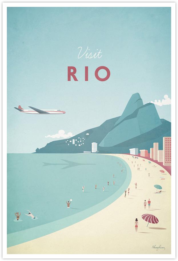 rio vintage travel poster travel