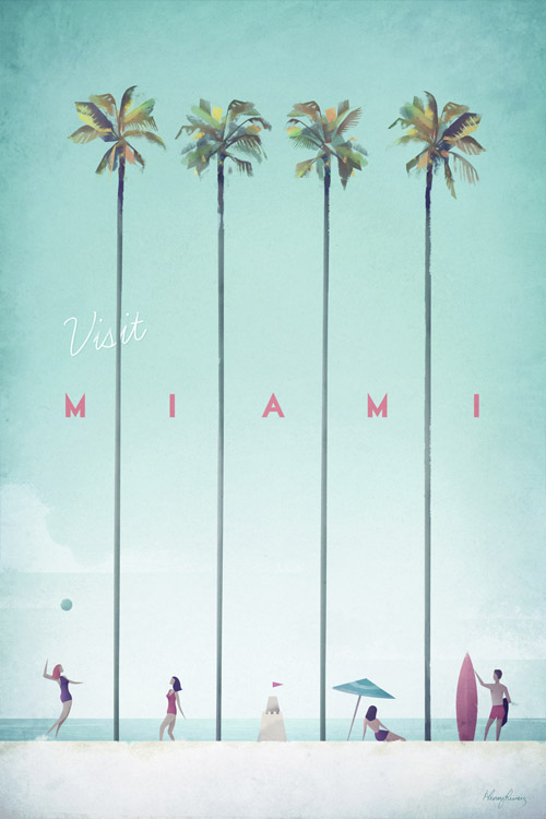 Miami Vintage Travel Poster TRAVEL POSTER Co