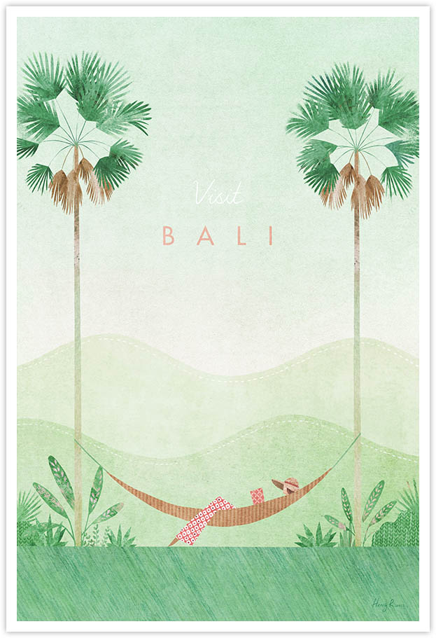 bali vintage travel poster travel