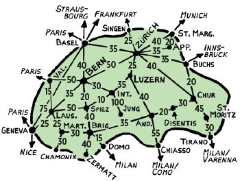 Bảng giá vé tàu giữa các thành phố ở Thuỵ Sĩ (vé hạng 2)