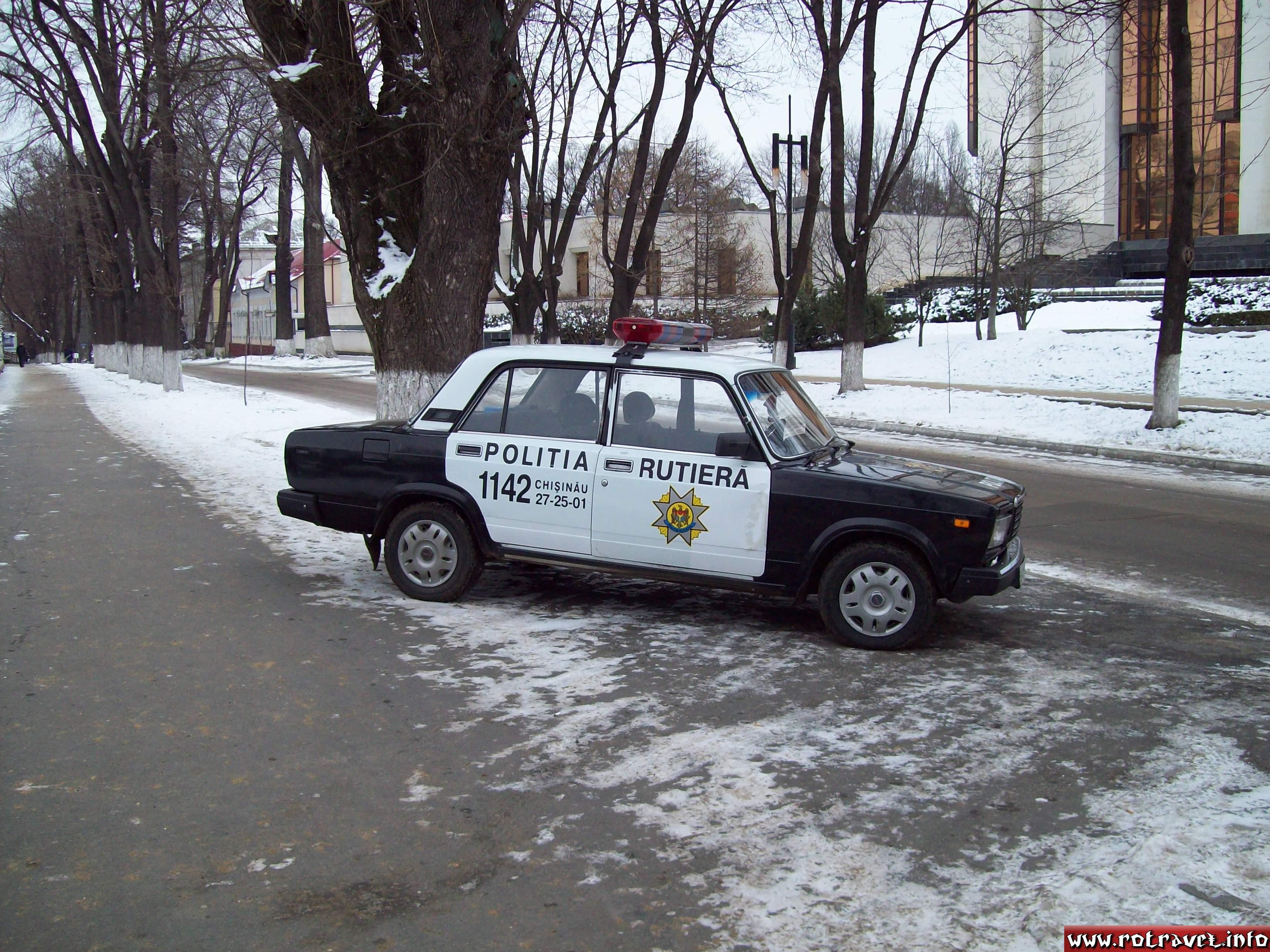 An old soviet Lada car at the Moldavian Police