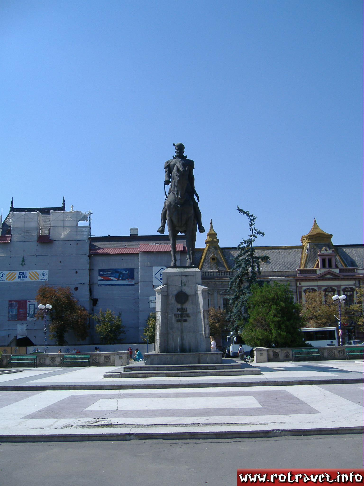 The statue of Mihai Viteazul (Michael the brave) in the center