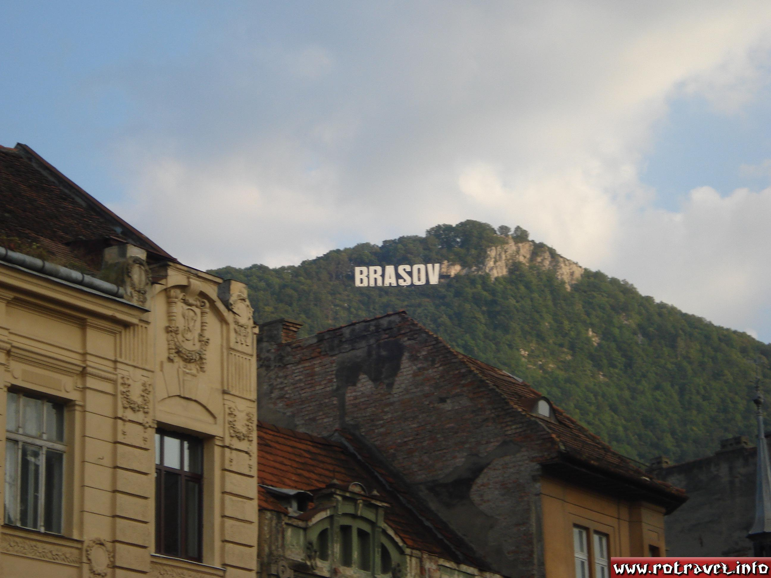 The Hollywood-like sign on top of Mt. Tâmpa
