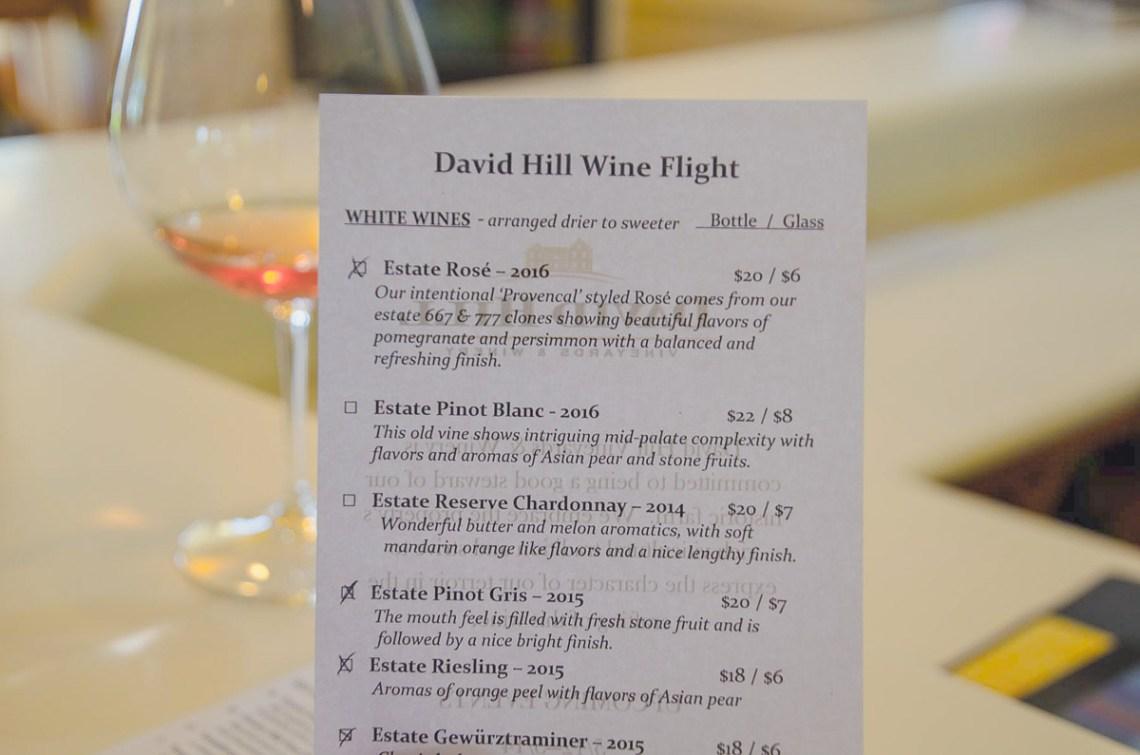 Weinkarte für das Wine-Tasting