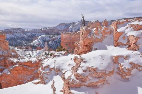 schnee auf roten felsen im bryce canyon