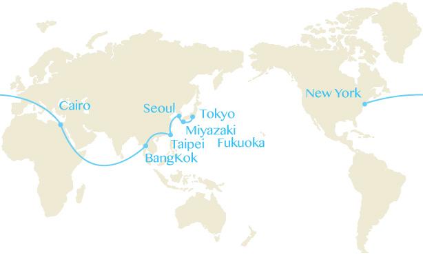 羽田→宮崎→仁川→台北→バンコク→カイロ→NY→カイロ→バンコク→仁川→福岡→羽田