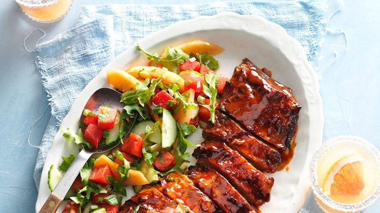 Grilled ribs with some chop salad in Lemongrass Ho Chi Minh City