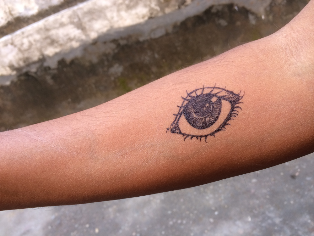 The all seeing eye - a tattoo drawn by someone I met at the Yoga ashram.