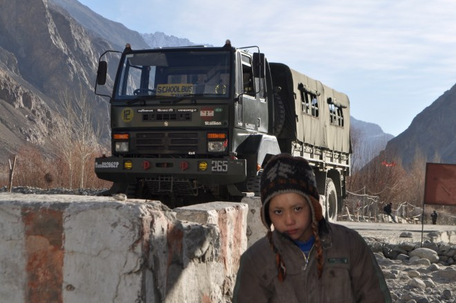 The army is entrusted with the task of taking kids to school in Turtuk