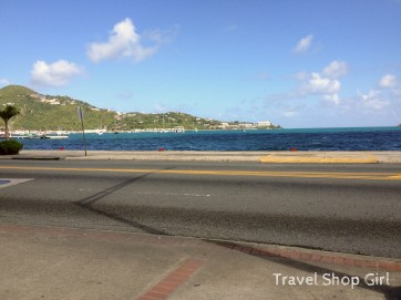 Looking out toward Havensight from downtown Charlotte Amalie near Magic Ice and Big Kahuna Rum Shack