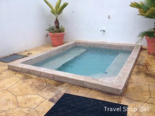 Hot tub outside women's changing area