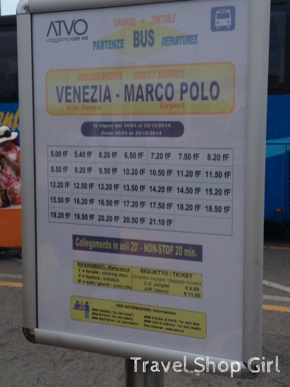ATVO bus schedule for Marco Polo airport
