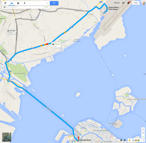 Google Maps: Venice Marco Polo Airport to PIzzale Roma