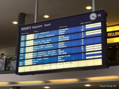 Departure board inside Nuremberg Hauptbanhof