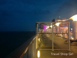 Walking along deck 16 at night while at sea