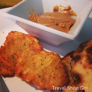 No small peanut butter packets and what I thought was tostones, but was potato patties