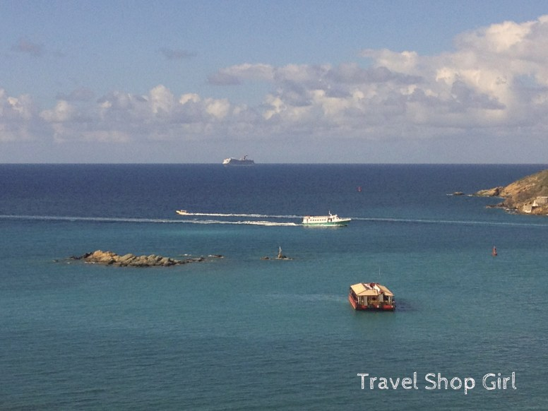 Carnival Glory approaching St. Thomas to dock at Crown Bay