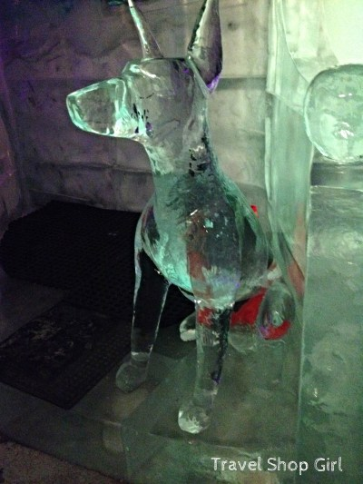 Doberman ice sculpture at Magic Ice