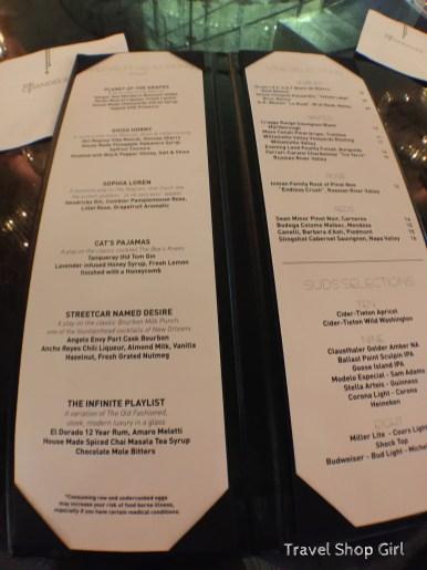 The Chandelier drink menu