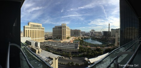 View toward Bellagio from balcony at The Cosmopolitan