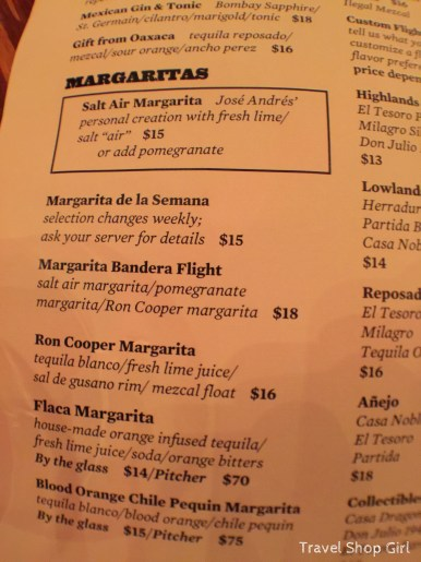 Margaritas Restaurant Menu