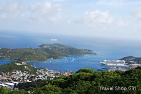 There are two cruise ports in St. Thomas. This is the newer Crown Bay where Caribbean Princess was docked with Water Island nearby.