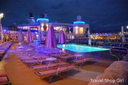 Beach pool on deck 15 at night