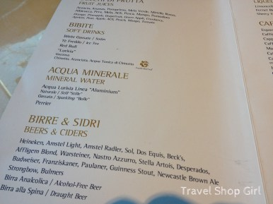 Top Sail Lounge drink menu