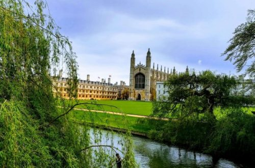 The chapel of Kings College Cambridge viewed from the river on a sunny day.