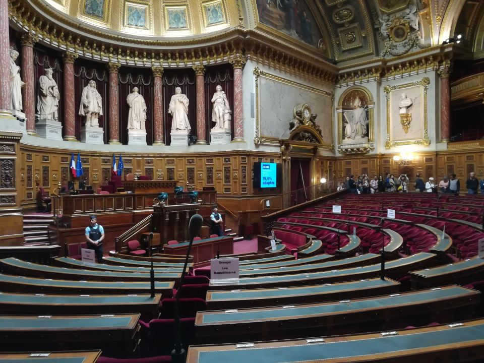 Inside the hemiscycle of the Senate in Paris, France