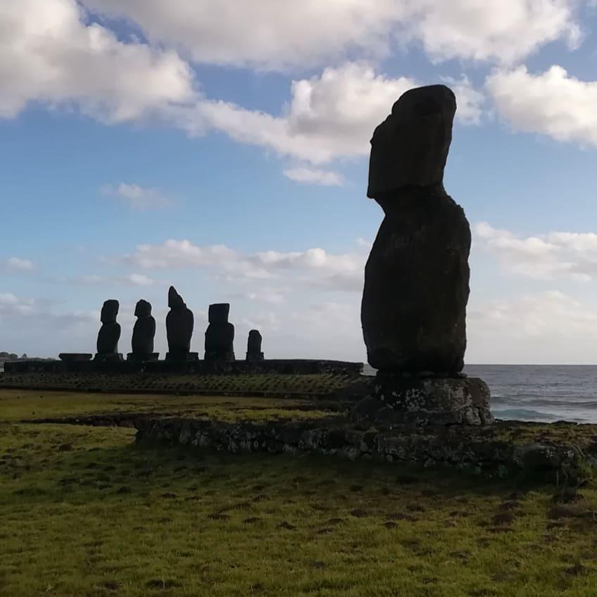 Moai statues at Ahu Tahai on Easter Island